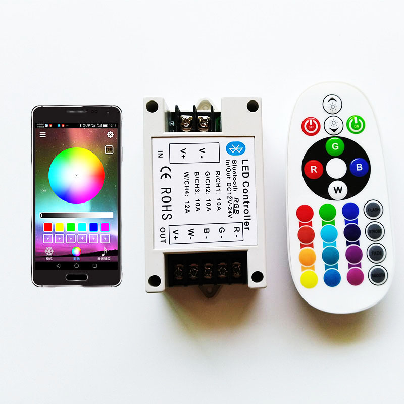 DC12-24V RGBW controle 24Key IR Afstandsbediening Bluetooth led strip controller Door Android/IOS Telefoon APP