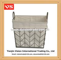 Home decorative kitchen vegetable metal wire storage basket with liner