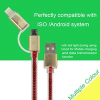 Phone accessories antioxidation USB cable 2 in 1 LED light USB cable for iphone and android