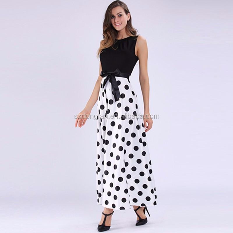 Zwart Wit Maxi Jurk.Vrouwen Mouwloze Maxi Jurk Vintage Patchwork Zwart Wit Jurken