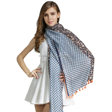 Graphic paisley and polka dots silk screen printing shawls and scarves