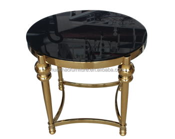 Modern Design Furniture Round Rose Gold Metal Glass Bed Side Table St040 View Furniture Table Huanhao Furniture Product Details From Foshan Huan Hao