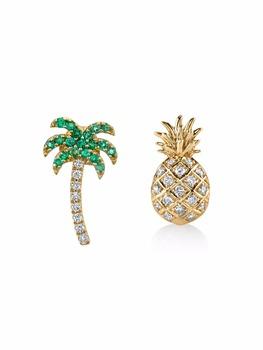 14k Gold Plated Jewelry Palm Tree Pinele Shaped Studs Earrings