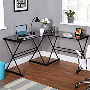 Spacious L-Shaped Computer Desk, Durable Metal Construction, Black Finish, Tempered Glass Top, Contemporary Design, Ideal For Any Office Style