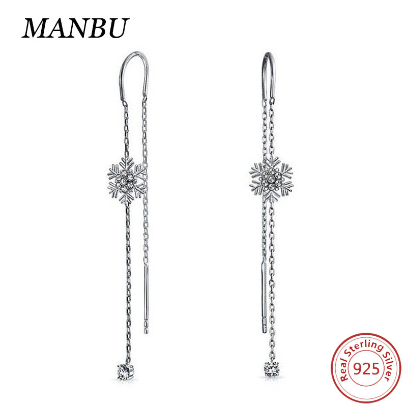 Christmas Gifts 925 Sterling Silver CZ Snowflake Earring In Ear Chain