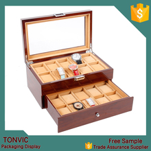 Tonvic Factory Wooden Mens Watch Box Holds 20