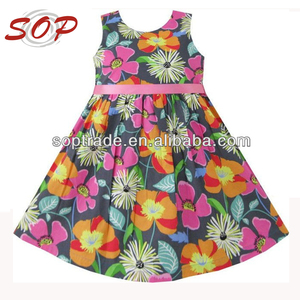 New design girls flower printed floral girls casual dresses child clothes dress