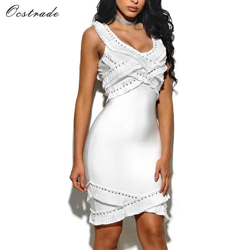 Neuheiten sexy Rüsche Bandage weißes Kleid Perlen Abendkleid