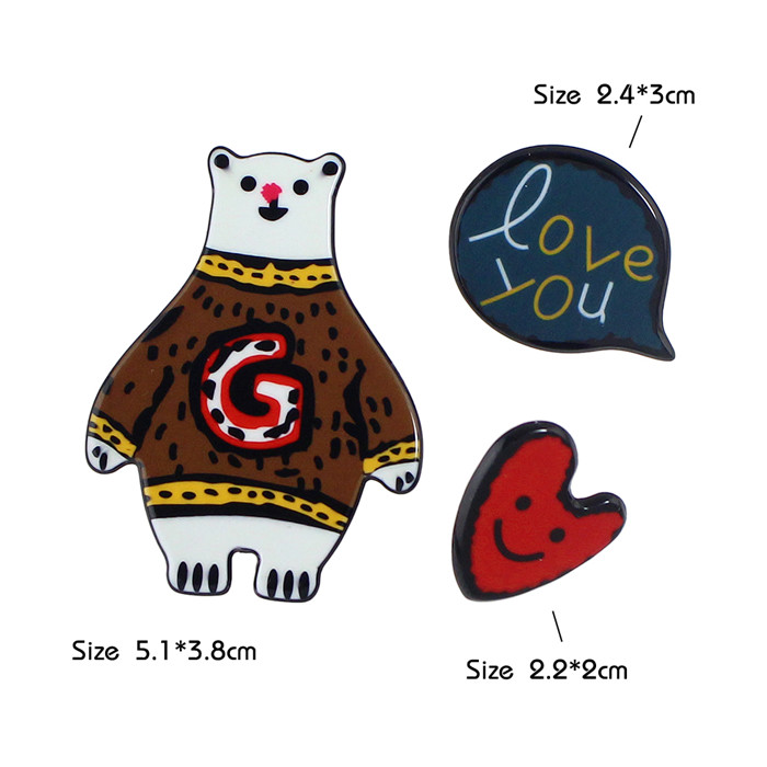 3 Pcs/Set Colorful Acrylic Carton Shape Big Brooches for Women