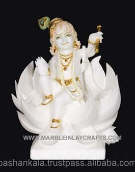 White Marble Krishna Makrana Marble Lord Krishna Statue With White