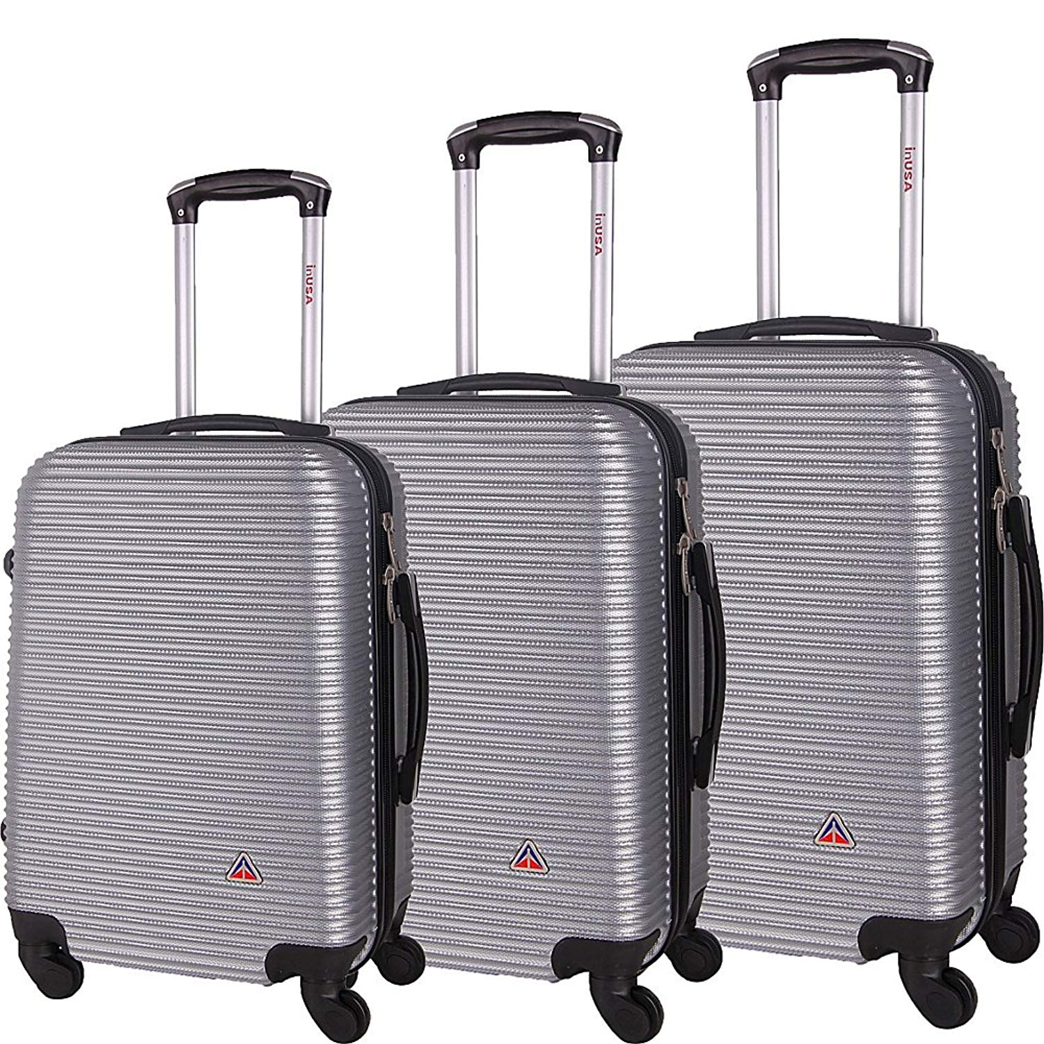 45db62ed8 Get Quotations · inUSA Luggage Royal 3 Piece Lightweight Hardside Spinner  Luggage Set (Silver)