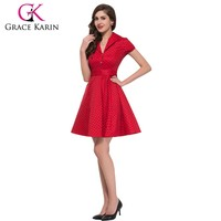 Grace Karin Knee Length Short Sleeveless Wholesale Vintage Retro Red Dress CL6089-8#