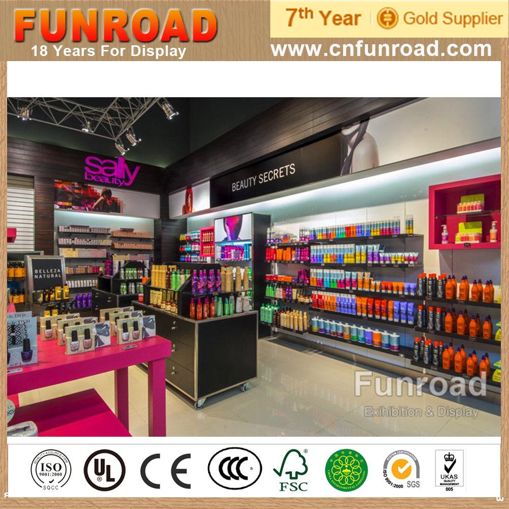 Cosmetics Retail Shop Till Counter Design With Matt Wood Grain ...