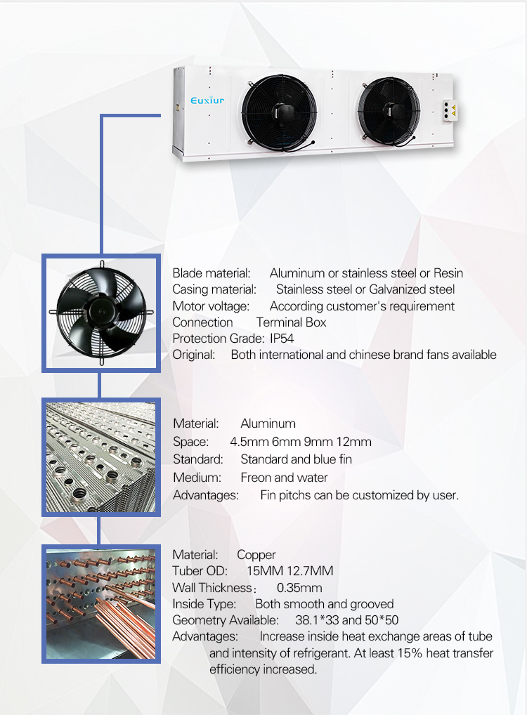 Low Price Small Cold Storage Room Industrial Refrigeration Equipment Evaporators Air Cooled Heater Defrost For Cold Storage Room