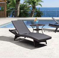 Hot sale outdoor wicker beach bed, garden patio rattan sun lounge lounger resort poolside furniture chaise lounge