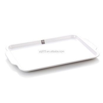 White Rectangle Melamine Serving Tray With Two Handles Buy