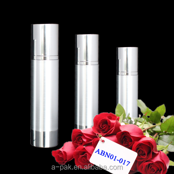 metal shroud shiny silver airless bottle for cosmetic