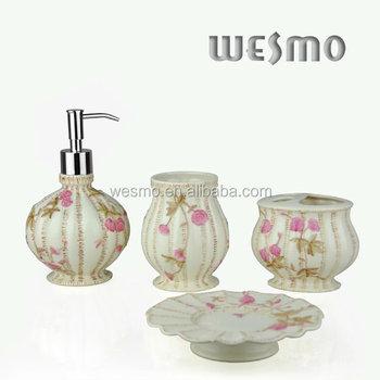 Porcelain floral bathroom set buy bathroom set bathroom for Bathroom accessories hs code