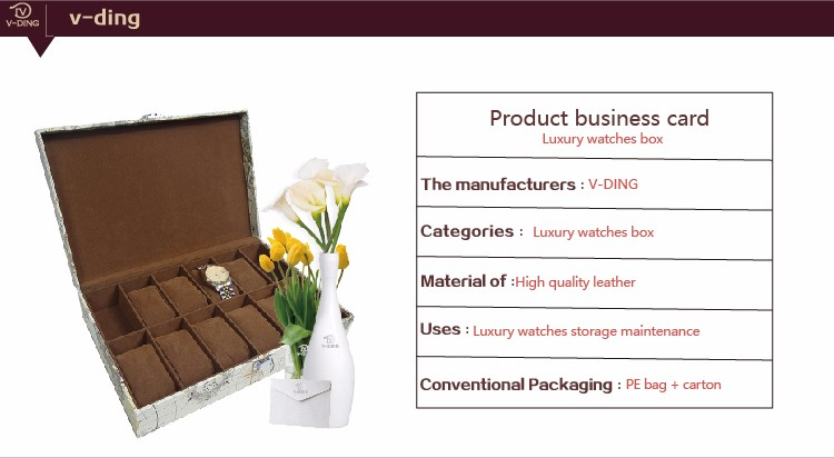 vding from china supplier new premium products quality map grain leather metal buckle custom watch packaging box