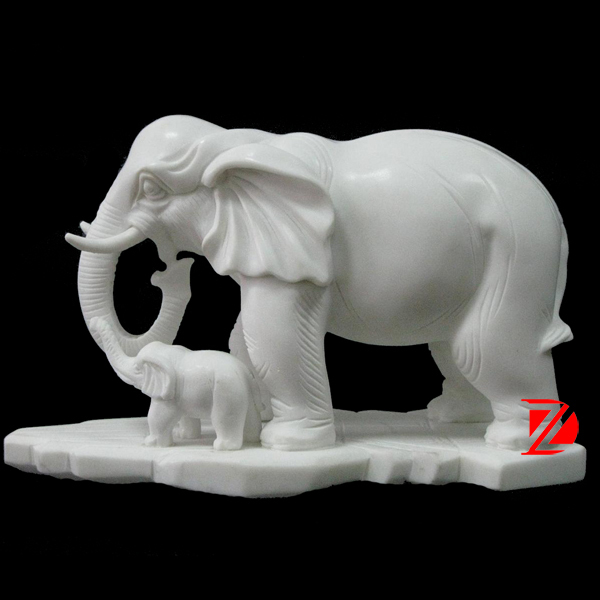 White Marble Mother And Baby Elephant Statue For