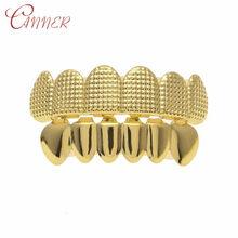 CANNER хип-хоп мужской набор из 6 верхних и нижних зубцов золотистого и серебристого цвета с имитацией зубных зубов Grillz Bump решетка стоматологич...(Китай)