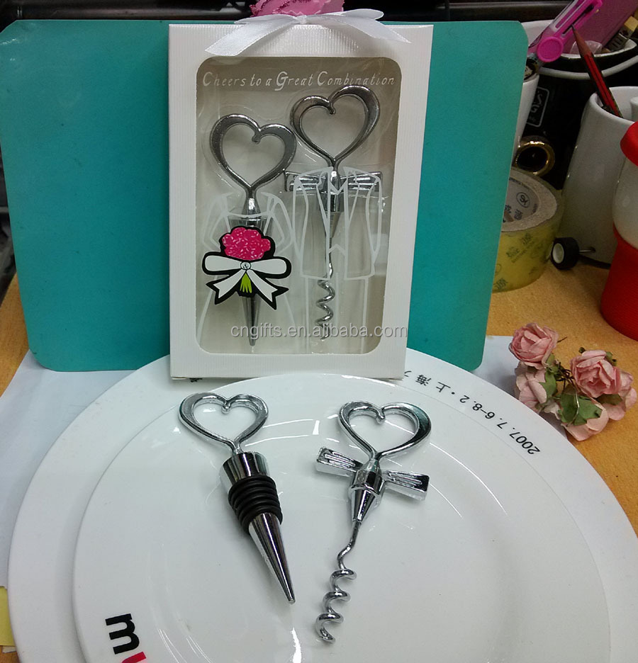 Hot!!Heart Shape for Couple Wine Bottle Opener and Stopper Sets Wedding Favors