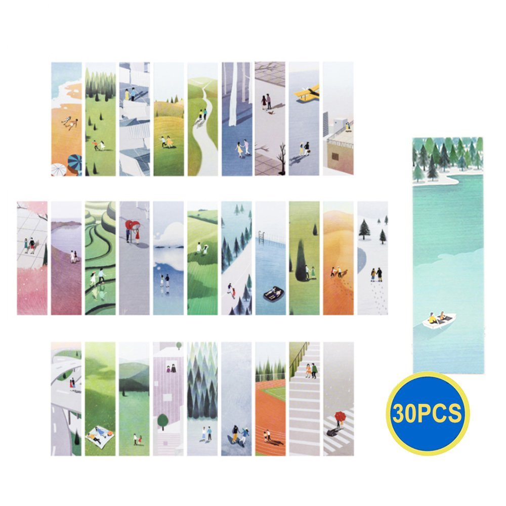 Gadget.Cool Traveling Figures Bookmarks Bulk - 30 Packs Wholesale Bookmarks Set, Minimalism Design, Vivid Colors and Creative Styles, Best for School Students Book Lovers Childrens(Travelers)