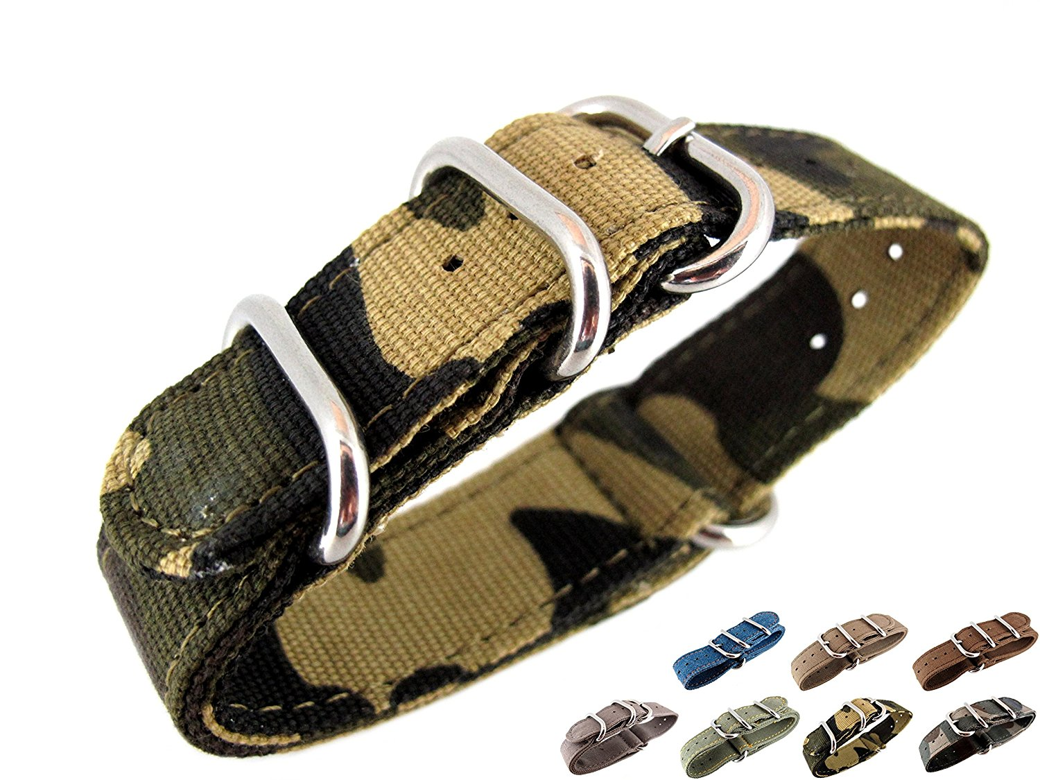 20mm Watch Strap Zulu Nato Band Watchband Premium Canvas Camouflage Sports Military Army 3 Solid Polishing Round Ring Buckle Wrist Length 150 To 220mm 1.8mm Thickness Fashion Trend NYS108 JRRS7777