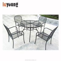5pcs Patio Outdoor Garden Yard Dining Set, Metal Mesh Table Top, Stackable Chairs