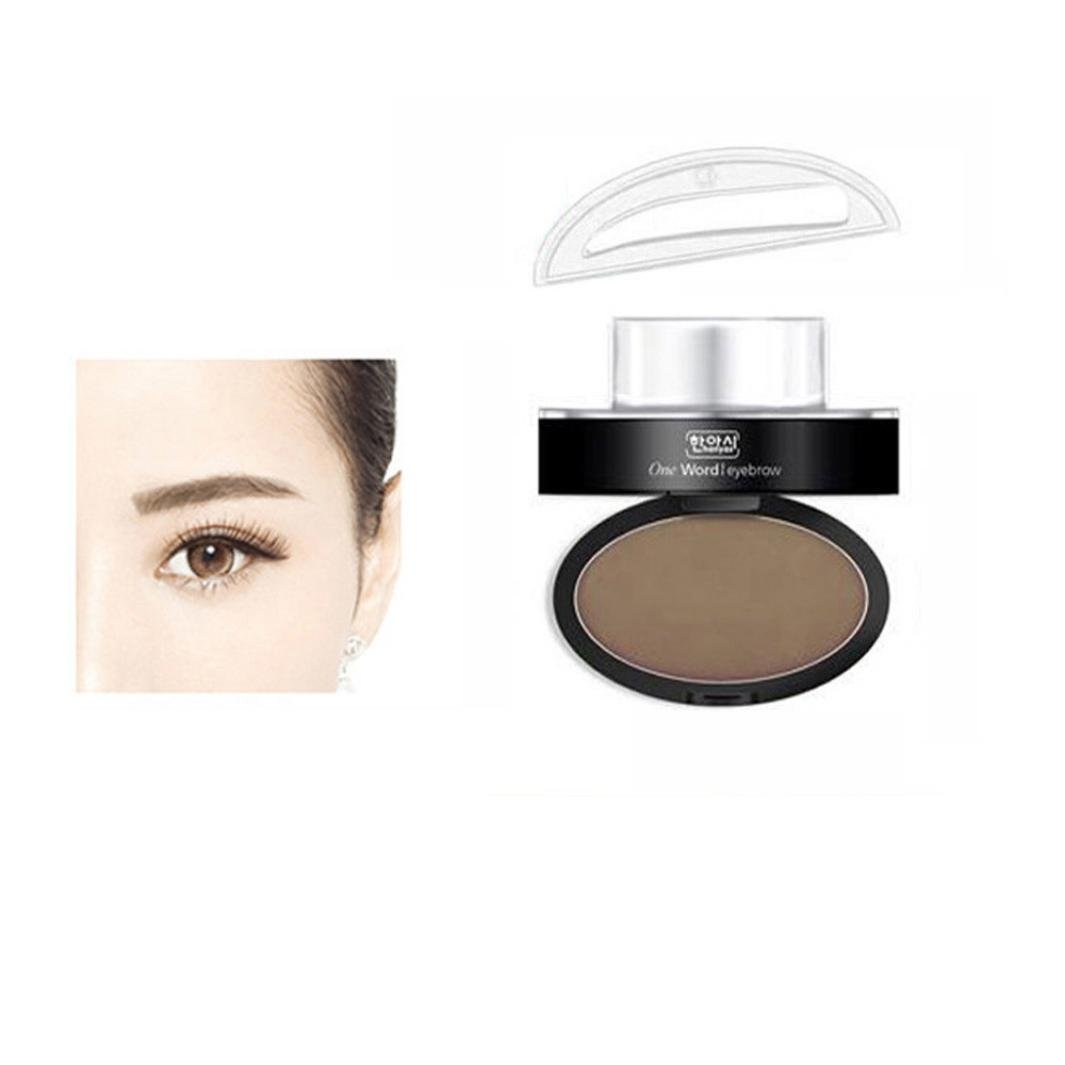 Fheaven Brow Stamp Powder Delicated Natural Perfect Enhancer Straight United Eyebrow (Brow Stamp+ Brow Powder) (Coffee)