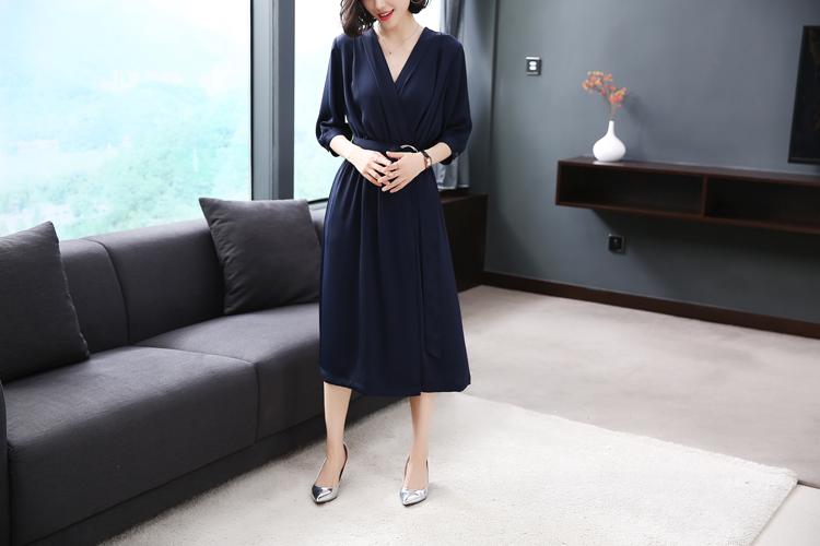 New fashion ladies silk office dress short sleeve dress