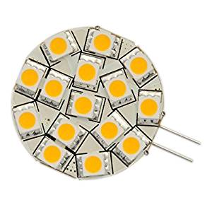Ledwholesalers Disc Type G4 Base Side Pin LED Bulb with 15xsmd5050 for Rv Camper Trailer Boat Marine, Warm White, Pack of 2 bulbs, 1114ww