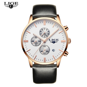 LIGE Hot Selling Men Business Calendar Japan Quartz Watch Lluxury Leather Strap 30m Waterproof Diver Mans Cool Watch