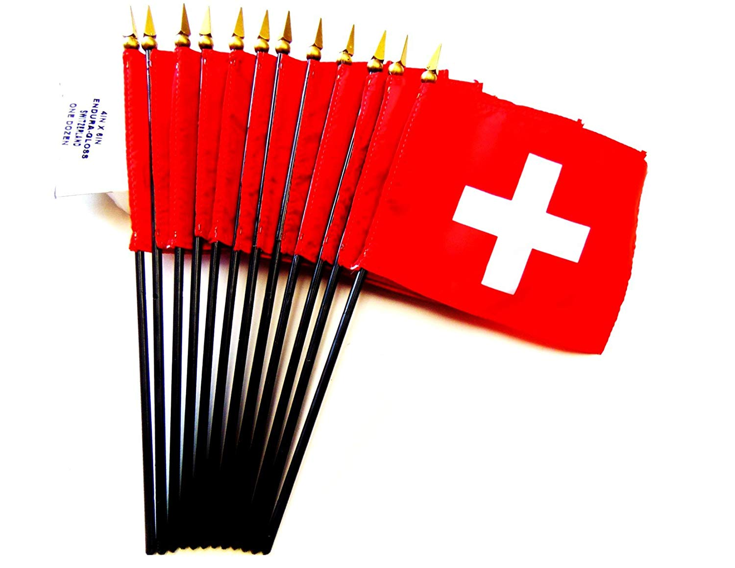 "MADE IN USA!! Box of 12 Switzerland 4""x6"" Miniature Desk & Table Flags; 12 American Made Small Mini Swiss Flags in a Custom Made Cardboard Box Specifically Made for These Flags"