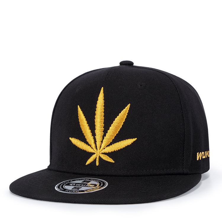 Wholesale custom 3D puff embroidered weed leaf gorras snapback <strong>hats</strong> with sticker