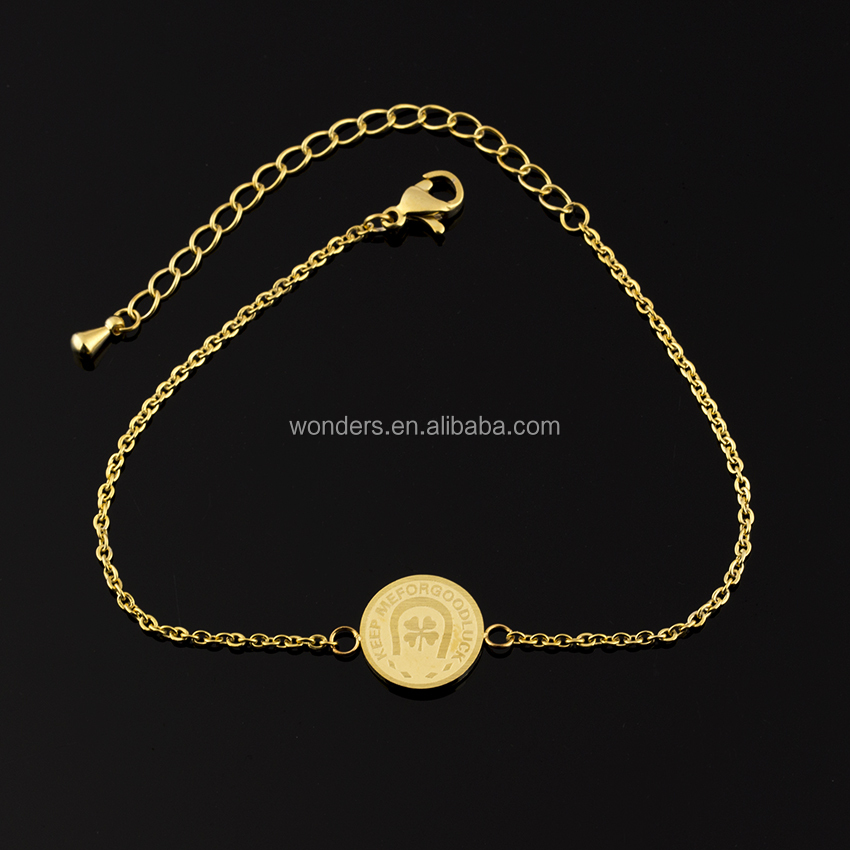 18K Gold Plated Good Luck Four Leaf Clover Charm Coin Bracelet Bangle BFF Birthday Gift