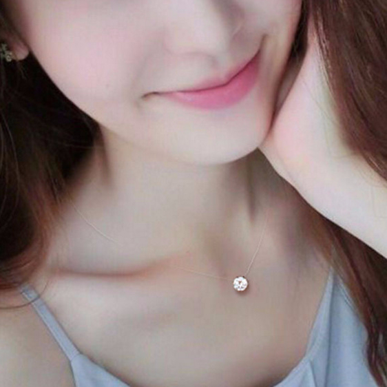 Fashion 3 Colors Invisible Transparent Fishing Line CZ Stone Crystal Zircon Pendant Necklace For Women Girl Simple Jewelry Gift