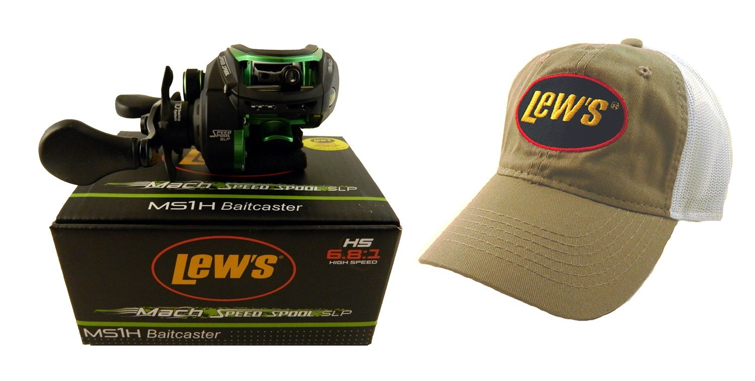 Bundle - Lew's Mach Speed Spool MS1H 6.81:1 Right Hand Baitcasting Reel with Hat
