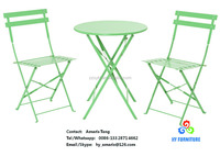 All steel metal folding outdoor patio garden bistro sets balcony table chairs sets wholesale