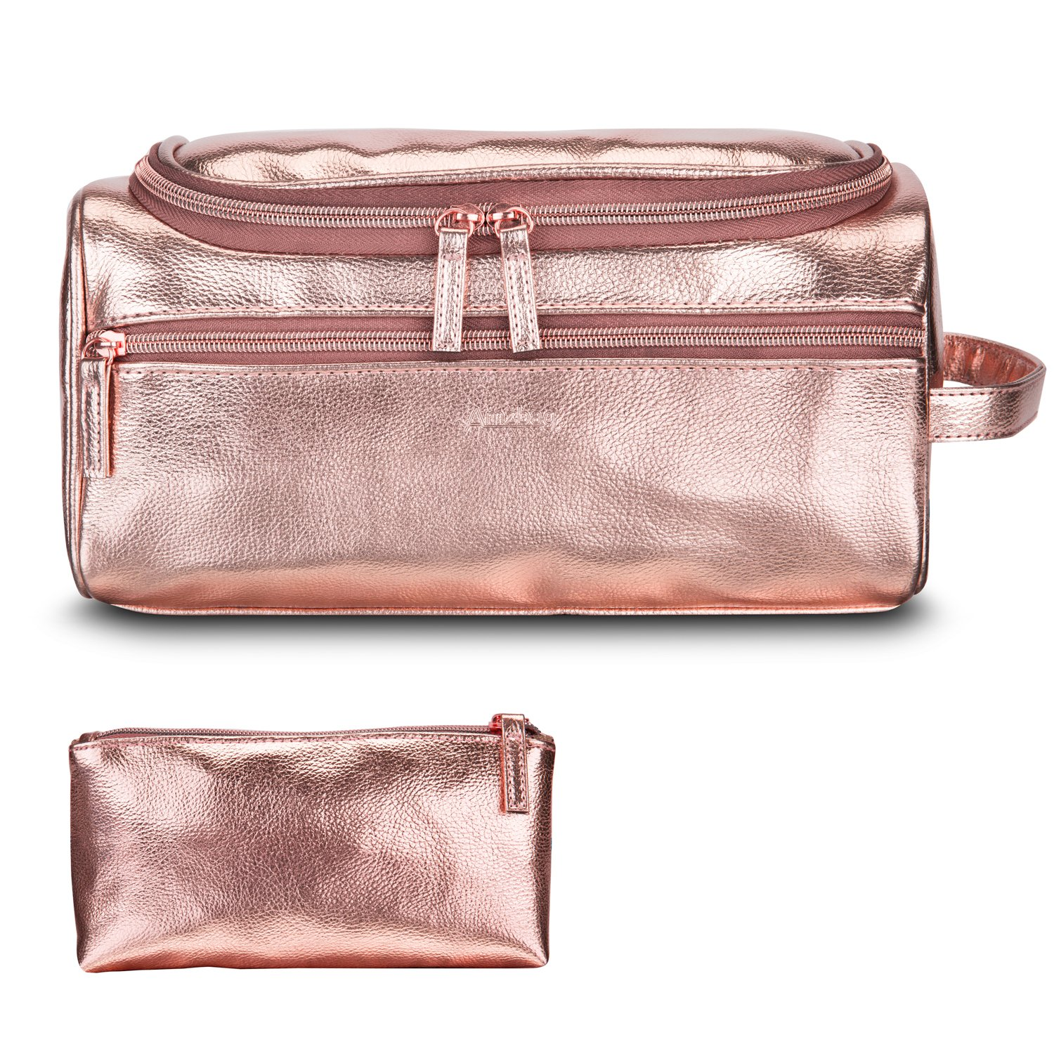 Get Quotations Amzbag Leather Toiletry Bag Travel Organizer Portable Hanging Makeup Dopp Kit Shaving Cosmetic