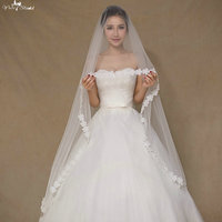 LZP064 Women Simple Bridal Veil Flowers Artificial 3 Meter Wedding Veil