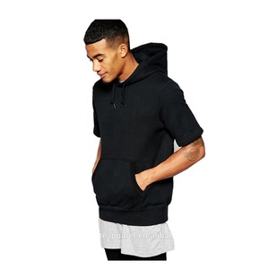 Custom 100% Polyester Men's Short Sleeve Hoodie/Black Sports Hoodies Jerseys Wholesale