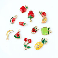 High quality cute variety summer fruit enamel charms for children jewelry making