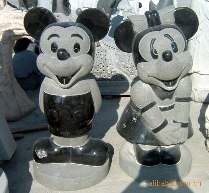 Hand carving granite modern garden animal Mickey Mouse sculpture