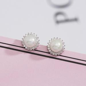 925 sterling silver simple design freshwater pearl stud earrings
