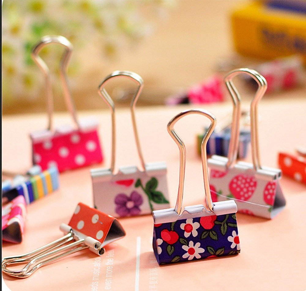 Katoot@ 4 pcs/lot cute floral binder clips file clip organizer papelaria kawaii stationery office & school supplies zakka