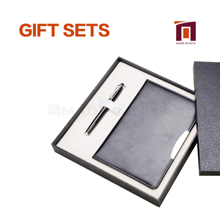 Black Business Notebook Gift Set With Pen For Men