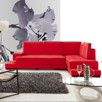 Bisini Hot Modern Sectional L Shape Red Sofa Set Genuine Leather Living Room Furniture