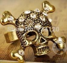 New Fashion free shipping 17mm size Retro Bronze Rhinestone Crystal Bone Skeleton Skull Pirate Ring Size