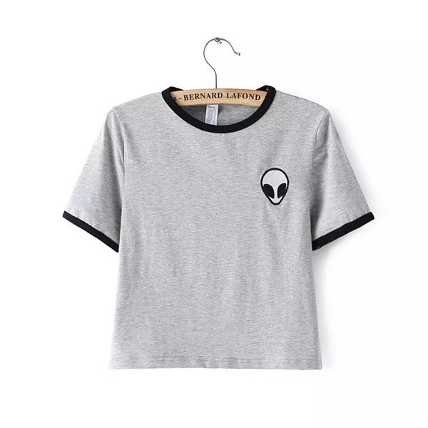 cada74b72a40 Get Quotations · 2015 Short Sleeve Alien t shirts Womens Embroidery t-shirt  Black White Striped tshirts Cropped